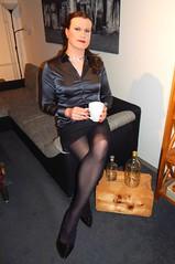 Enjoying my coffee (Rikky_Satin) Tags: silk satin blouse pencil skirt pantyhose highheels pumps crossdresser transvestite tgirl tgurl sissy secretary