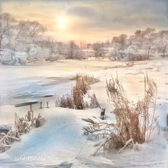 A frosty day in Borovsk. (odinvadim) Tags: iphoneart landscape iphoneonly winter iphonex iphoneography specialist church mytravelgram painterlymobileart snapseed evening artist travel sunset oldhouse frost textured textures river icolorama