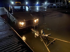 Launching Boats (Sam Tait) Tags: bar tow front slipway slip td5 truck up pick 110 defender rover land