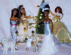 Barbie and Friends decorating the Christmas Tree (marieschubert1) Tags: week december 2019 christmas tree decorating white silver lights bright shiny sparkle glitter barbie dolls mattel crew1