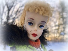 Frosty morning (Foxy Belle) Tags: vintage barbie blonde 3 snow coat outside fur silkstone green jacket ski trees winter nature doll toy