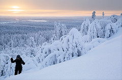 Snow shoe hiking - Lapland - Finland (Frédéric Lefebvre - Landscape photography) Tags: snow shoe hiking lapland finland outdoors winter people cold temperature warm clothing tree travel adventure mountain sunset