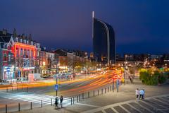 Tour des Finances à Liège (vanregemoorter) Tags: liège wallonie traffic city ville bluehour