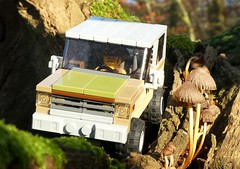 Taking the Jeep cross country (captain_joe) Tags: toy spielzeug 365toyproject lego minifigure minifig car auto jeep 6wide strangerthings chevrolet k5 blazer 75810 pilz mushroom fungi