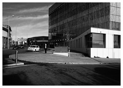 Nottingham City Centre (Dave Button) Tags: citycentre nottingham xpro2 fuji fujifilm acros street sky building architecture light xf23mmf2 urban bw blackandwhite car road lightshade lightplay silverefexpro lines composition