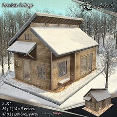 Rassuel - Mountain Cottage & Snow (Rassuel) Tags: rassuel mesh second life sl fashion decor new urban loft bench lamp grunge tgg alley garden shelf unit folding pipe party bar people chalk winter spirit mountain cottage snow house wood wooden