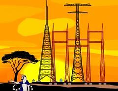 Stahlgittermasten (feldweg2008) Tags: gittersteigen gittermast gittersteiger abend grafik deutschland strommast strommasten latticeclimbing latticeclimb latticecategory extremgittersteigen himmel sunset sonne tower freileitung