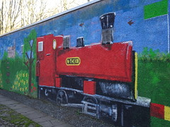 Mural of Mr Therm train at Seaton Park, Aberdeen (iainh124a) Tags: iainh124a scotland aberdeen uk sony sonycybershot dschx95 dschs95 cybershot dx95