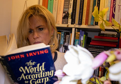 The World According to ... (Peter Branger) Tags: activeassignmentweekly reading book books bookcase canoneosr canonrf35mmf18macroisstm flower johnirving theworldaccordingtogarp