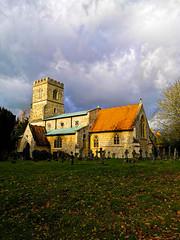 Late Autumn sunlight (Oxford Murray) Tags: addington autumn church stormclouds morningwalk picturesque windyday