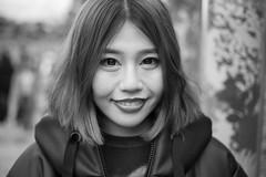 Kyoto Street Portrait (Andrew Allan Jpn) Tags: street streetportrait streetfashion streetphotography streetstyle eyecontact bigeyes cute pretty canon50mm18 kyoto japan japanesegirl japanesewoman monochrome mono beauty blackandwhite