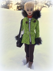 Heading to the rink (Foxy Belle) Tags: vintage barbie blonde 3 snow coat outside fur silkstone green jacket ski trees winter nature doll toy