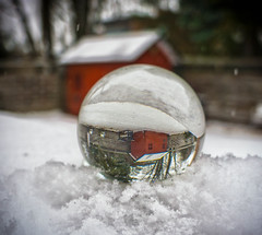 Snow globe (@magda627) Tags: sliderssunday wood glass coth5 composition color art magic reflection outdoor evening flickr crystalballphotography garden trees edit hss winter anteketborkacom white czerwony sony colors snow rouge red lightroom detail bench monday hbm