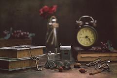 Old stories (Chapter2 Studio) Tags: stilllife sonya7ii stories chapter2studio classic clock oldbook keys glasses train flower floral grapes cinnamon berries vintage antique sliderssunday hss darkmood moody