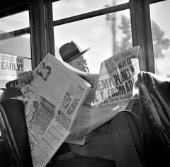 Just the Beginning: Reading war news aboard streetcar. San Francisco, California, December 1941. (polkbritton) Tags: johncollier 1940s fsaowi wwii worldwarii pearlharborattack libraryofcongresscollections vintagefashion sanfrancisco californiahistory