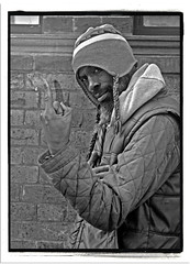 ONE LOVE/ONE HAT/ONE NIL. (StockCarPete) Tags: cameraman bw london londoners londonportraits hat finger cameramantheinterviews