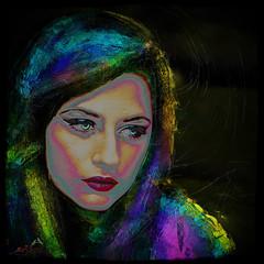 Unhappy Woman (SØS'Art) Tags: art nature colors photomanipulation photoshop dark colorful artistic digitalart filterforge solveigøsterøschrøder woman girl eyes sad lips unhappy
