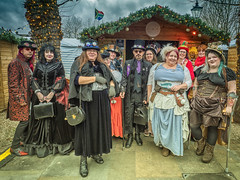 salisbury steam punk (mikejsutton) Tags: salisbury christmas market steam punk steampunk city mike sutton wiltshire people laundry building chalets