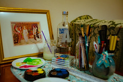 Art supplies that aren't mine (commontropes) Tags: sonya7rii sony a7rii lensbaby burnside alpha watercolour art painting vodka