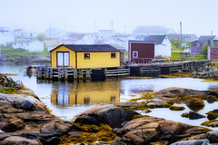 yellow fishing shed (-liyen-) Tags: dscf1319 newfoundland tiltingm fishingsheds canada fog harbour summer fogoisland maritime atlanticocean fujixt2