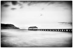 Hanalei Pier in Black & White (peterrath) Tags: bw blackwhite kauai hawaii hanalei canon camera eos 5dsr longexposure sun sky clouds beach pier travel