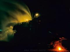 Night at Wolsztyn shed (rolfstumpf) Tags: europe poland wolsztyn pkp railways railroad night steam steamera locomotive fire flare ektachrome50 availablelight darkness br52 ty2 ty2249