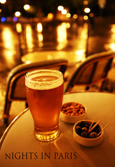 Nights In Paris (thor_thomsen) Tags: paris france beer glass table nuts olives golden night bliss chairs streetcafee color tabletop stillife foodanddrink snack