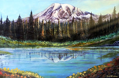 California Wildflowers near the Mountain by Dan Seitzinger (d.m.s. studios) Tags: painting art artwork snowcapped mountain lake pinetrees forest byartist danseitzinger