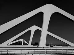 The bridge (gerard eder) Tags: world travel reise viajes europa europe españa spain spanien valencia harbour hafen harbor puerto brücken bridges puentes whiteblack whiteandblack blackwhite white blackandwhite blancoynegro monochrome modernarchitecture architecture arquitectura architektur