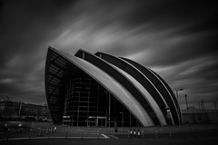 Armadillo (jasonhudson2) Tags: mono blackandwhite bandw architecture building longexposure armadillo glasgow scotland no people sony lee filters