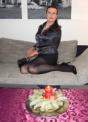 Time of contemplation (Rikky_Satin) Tags: silk satin blouse pencil skirt pantyhose highheels pumps crossdresser transvestite tgirl tgurl sissy secretary