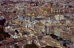 Granada from the Alhambra (Mister Electron) Tags: analogue film 35mm kodak ektachrome e100s silverhalide digitised plustek8200i filmscanner slide diapositive 1997 transparency slr singlelensreflex nikonf70 granada spain city urban cityscape tamron200400mmf56