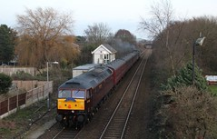 BLS 1Z30 with BR  Brush Type 4 No.47245 & 47826 hauling 'The Bootle Brush' Railtour past Burscough Bridge junction signal box on route from Southport to Wigan 8th December 2019 © (steamdriver12) Tags: branch line society bls 1z30 br brush type 4 no47245 47826 hauling the bootle railtour burscough bridge junction signal box wigan 8th december 2019 west coast railway lancashire england heritage diesel electric first generation british railways
