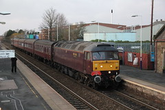 BLS 1Z30 with BR  Brush Type 4 No.47826 hauling 'The Bootle Brush' railtour through Burscough Bridge Station on route from Southport to Wigan 8th December 2019 © (steamdriver12) Tags: branch line society bls 1z30 br brush type 4 no47245 47826 hauling the bootle railtour burscough bridge signal box wigan 8th december 2019 west coast railway lancashire england heritage diesel electric first generation british railways station