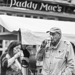 Irish Coffees at Paddy Mac's (Frank Fullard) Tags: frankfullard fullard candid street portrait drink irish coffee irishcoffee gaeliccoffee whiskey whisky alcohol cream couple heritage ballina mayo ireland moyfestival pub black white blanc noir monochrome