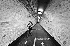 No Cycling (JMZ Photos) Tags: greenwich foot tunnel river thames london bicycle cycling nikon nikkor d700 14mm bw black white no samyang uwa man