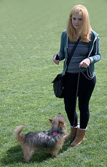 A Walk On The Grass (Scott 97006) Tags: woman female lady blonde dog canine animal pet cute grass