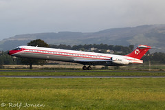 OY-RUT McDonnell Douglas MD-82 Danish Air Transport Glasgow airport EGPF 22.08-19 (rjonsen) Tags: plane airplane aircraft aviation airliner landing touchdown runway mad dog retro