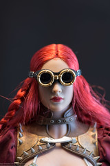 Steampunk Red Sonja Photo Review (edwicks_toybox) Tags: 16scale legenderryredsonja tbleague axe boots dynamiteentertainment executivereplicas femaleactionfigure goggles headsculptportrait metalbikini phicen redsonja revolver seamlessbody shield steampunk sword