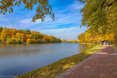 October in Tsaritsyno Park... / Октябрь в Царицыно... (Vladimir Zhdanov) Tags: autumn october russia moscow tsaritsyno nature landscape park forest foliage tree people pond water road building grass