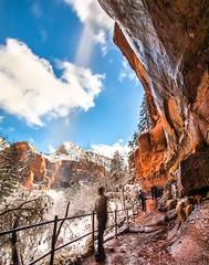 ... (Kris Kumar) Tags: 2019 canon7d longexposure nationalpark november sandstone scenic snow travel utah winter zion zionnationalpark emeraldpool falls waterfall