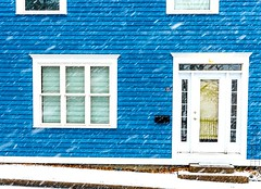 Snowing Sideways (Karen_Chappell) Tags: snow snowy snowing winter december weather blue white house home door window architecture building nfld newfoundland stjohns downtown city urban trim wood wooden paint painted clapboard canonef24105mmf4lisusm atlanticcanada avalonpeninsula eastcoast canada cold
