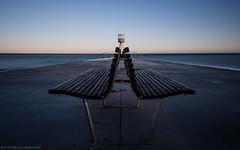 Cheek to cheek (katrin glaesmann) Tags: copenhagen klampenborg bellevuebeach denmark onthebeach baywatch sunset bench leading lines longexposure arnejacobsen lifeguardtower 1930s