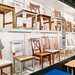 Interior of table and wooden chairs area showcase