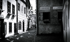 Kumlov Streets (dlerps) Tags: amount cz ceskykrumlov czech czechrepublic daniellerps eu europeeuropa lerps photography sony sonyalpha sonyalpha99ii sonyalphaa99mark2 sonyalphaa99ii httplerpsphotography lerpsphotography street road buildings building architecture cobblestone window monochrome bw blackwhite oldtown carlzeiss planar5014za planart1450 cafeinvino cafe carlzeissplanar50mmf14ssm