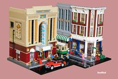 Downtown (snaillad) Tags: lego moc modular town city street corner scene building cinema bakery menswear 1930s 1940s art deco car tram
