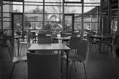 Stralsund, Krankenhaus am Sund - Cafeteria (sonntags erst ab elf) (tom-schulz) Tags: ricoh grii monochrom bw sw rawtherapee gimp stralsund thomasschulz krankenhaus stuhl tisch cafeteria