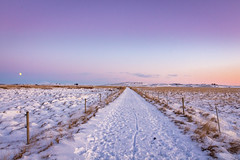 Iceland (Woyciech Zet) Tags: snow view iceland grassland nature sky way sunset mountains is landscape moon winter