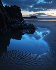 (Neil Bryce) Tags: anglesey wales newborough llanddwyn island beach sunset blue hour twilight sand evening pool rock still serene soft