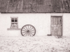 Cottage Detail & Wheel (kckelleher11) Tags: 1250mm 2019 720nm ir ireland olympus cottage december door em1 infrared omd wheel wicklow